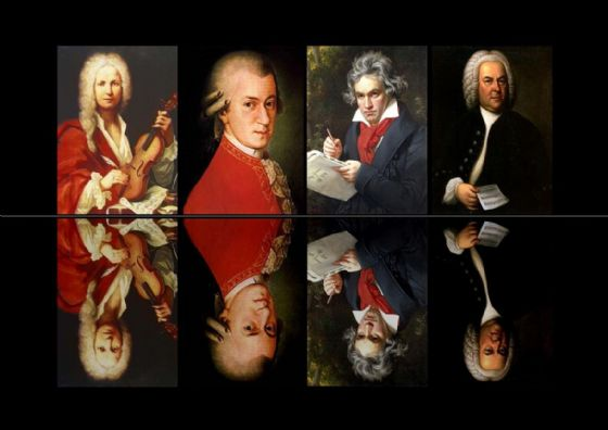 The Composers: Beethoven/Mozart/Bach/Vivaldi. Classical Music Art Print/Poster. Sizes: A4/A3/A2/A1 (00621)